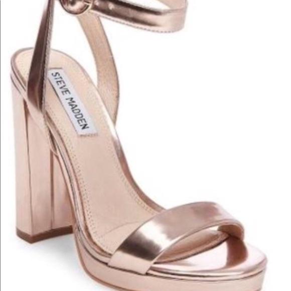 a6fb519ecdd Steve Madden Chunky Klari Heels- 5.5 rose gold